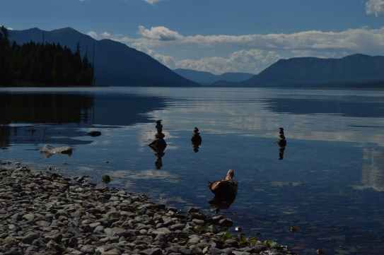 Rock Stacking at Lake McDonald in Glacier