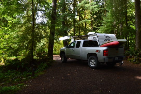 Klahowya Campground in the rainforest in the Olympic National Forest