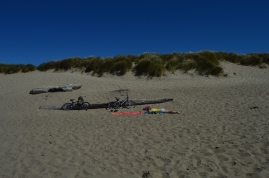 Napping on the beach at the Oregon Dunes