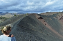 Hiking around the edge of a crater at Craters of the Moon
