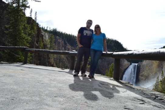 The cutest couple ever enjoying a view of the Falls of the Grand Canyon of Yellowstone from the bottom of the Red Rock Trail.
