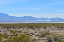 Ivanpah Solar Electric Generating System from a distance in the Mojave Desert