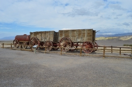 The wagons pulled by the Twenty Mule Team
