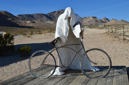 A display at the open air museum in Rhyolite, NV