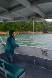 Courtney enjoying the cold and somewhat wet boat tour on Lake Superior, Munising, MI