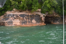 One of the sandstone cliffs and caves around Grand Island in Lake Superior