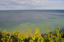 A view from above, Lake Huron seems to stretch forever from this view high up on Mackinac Island