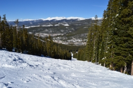A view from a ski run in the Mary Jane Territory of Winter Park Ski Resort