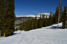 A view of a ski run in the Mary Jane Territory at Winter Park Ski Resort