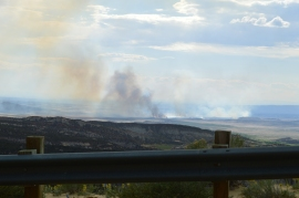 Taken from the Colorado side of Dinosaur National Monument, this photo shows the clouds of smoke from a forest fire near the Colorado/Utah boarder