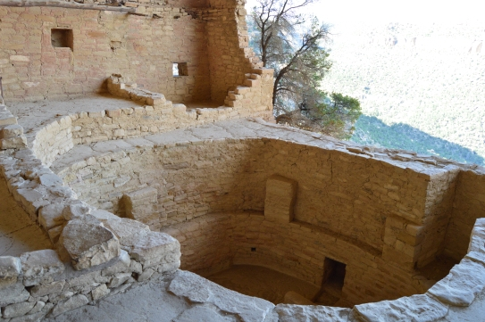 The Kivas at Balcony House were located right on the edge of the cliff in the center of the dewelling